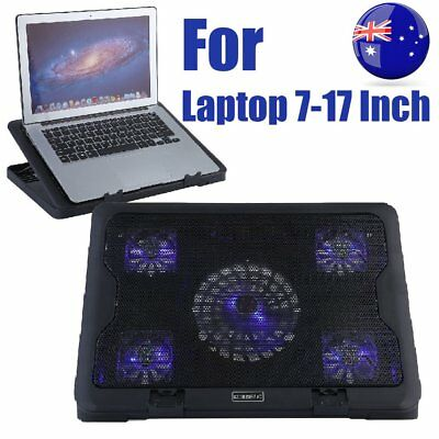 """5 Fans LED USB Adjustable Height Stand Pad Cooler For Laptop Notebook 7""""-17"""" BB"""