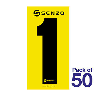 1 Number Pack of 50 Black on Yellow Senzo