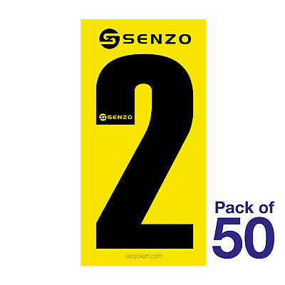 2 Number Pack of 50 Black on Yellow Senzo