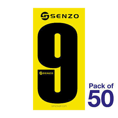 9 Number Pack of 50 Black on Yellow Senzo