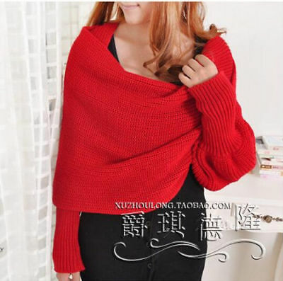 Korean New Womens Knitted Shawl Cape Thicken Warm Sleeve Scarf Long Wraps Winter