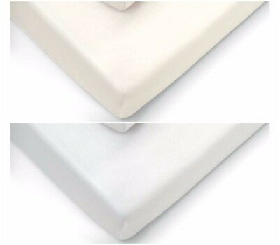 2x Jersey Fitted Sheet 100% Cotton Cot Bed 70x140cm white OR cream