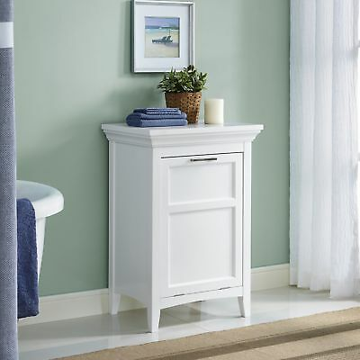 Laundry Hamper Cabinet W/ Front Tilt Out Storage Compartment Contemporary  White