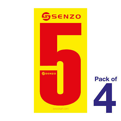 5 Number Pack of 4 Red on Yellow Senzo