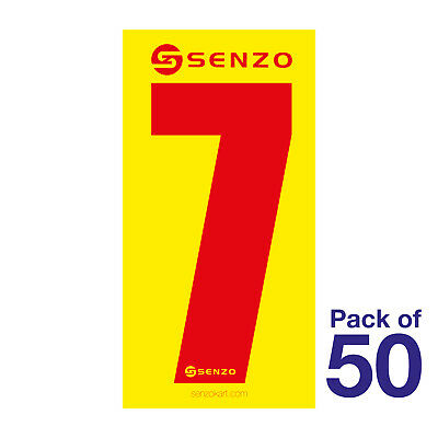 7 Number Pack of 50 Red on Yellow Senzo