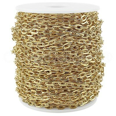 Cable Chain Spool - 100 Feet - Champagne Gold Color - 5x7mm Oval Flat Rolo Link