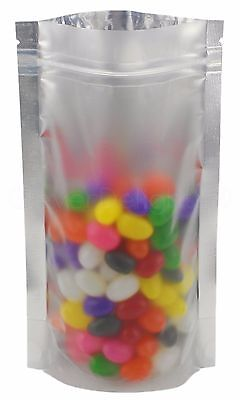 """100 Silver/Clear Stand Up Pouches - 5"""" x 8"""" x 2.5"""" - 4oz  Resealable Ziplock Bag"""