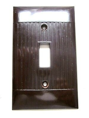 1 Vintage Sierra Ribbed Lines Brown Bakelite Switch Plate Cover Art Deco D1