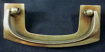"1 vintage brass mid century modern drawer drop bail pull handle holes=3-1/2""C-C"