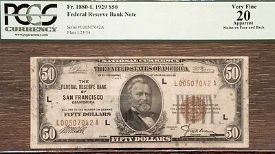 1929 $50 San Francisco Federal Reserve Bank Note PCGS VF20