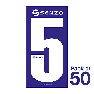5 Number Pack of 50 White on Blue Senzo