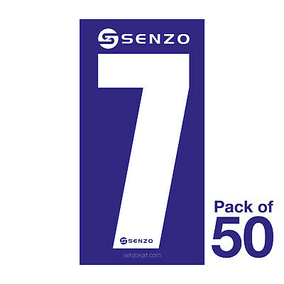 7 Number Pack of 50 White on Blue Senzo