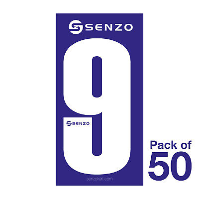 9 Number Pack of 50 White on Blue Senzo