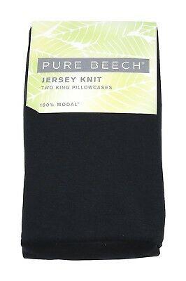 Pure Beech Two King Jersey 100%-Modal Knit Pillowcases, Black