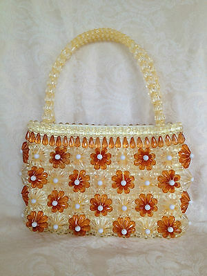 "Beautiful Vintage Style Plastic/Arylic Amber Beaded Purse Hand Bag 7"" x 11"" x 3"""