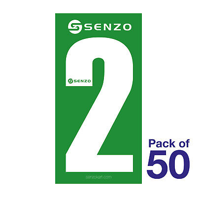 2 Number Pack of 50 White on Green Senzo