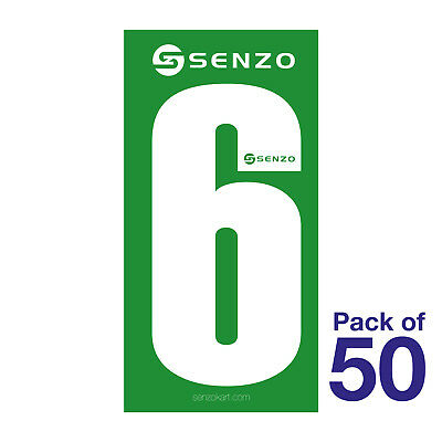 6 Number Pack of 50 White on Green Senzo