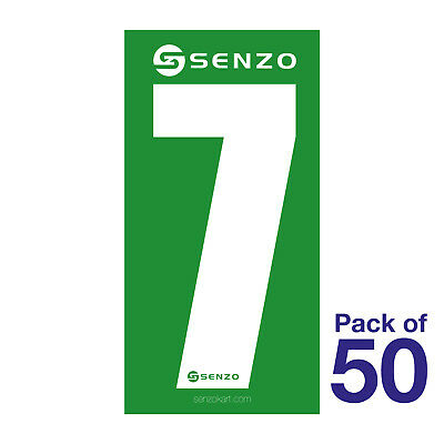 7 Number Pack of 50 White on Green Senzo