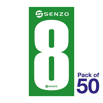 8 Number Pack of 50 White on Green Senzo