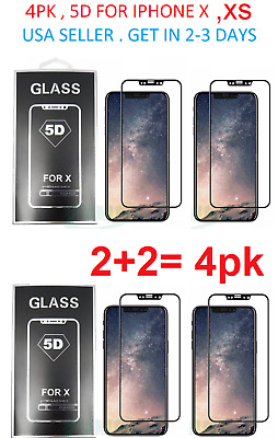 2Pk Tempered 3D glass Screen protector for IPHONE X IPHONE XS Full GLUE CURVED