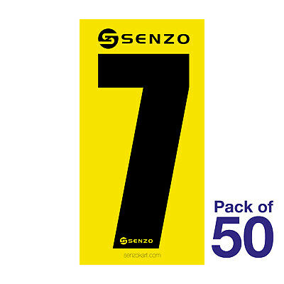 7 Number Pack of 50 Black on Yellow Senzo