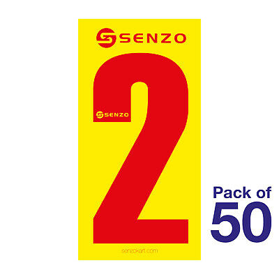 2 Number Pack of 50 Red on Yellow Senzo