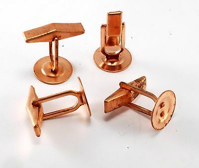 Vintage Lot Of 4 Copper Plated Steel Cufflink Cuff Link  Replacement Backs Nos