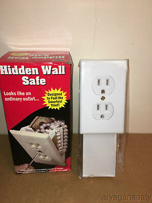 Wall Plug Hidden Diversion Wall Safe - Hide Keys Money Jewelry Valuables NEW