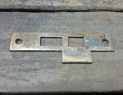 VTG Old Rustic BRASS STRIKE Plate Mortise Door Lock Keeper Catch Heavy Duty *