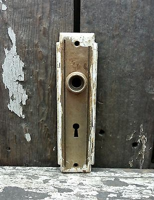 VTG Old Shabby Rustic Deco Metal Keyhole Door Knob Backplate Cover Hardware 7""