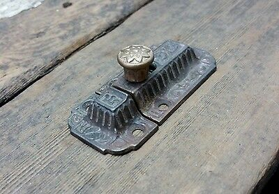 VTG Shabby Old Rustic FANCY Cast Iron EASTLAKE Cabinet BRASS Pull Knob Latch **