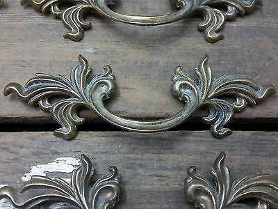 "ONE Vtg Antique Fancy SHABBY Provincial Brass Pull Handle Drawer Dresser 3"" CC *"