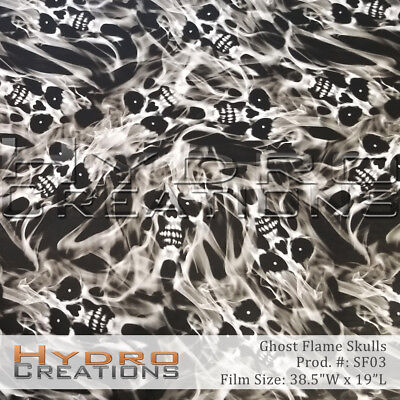 "HYDROGRAPHIC FILM HYDRO DIPPING WATER TRANSFER GHOST FLAME SKULLS - 38.5"" x 19"""