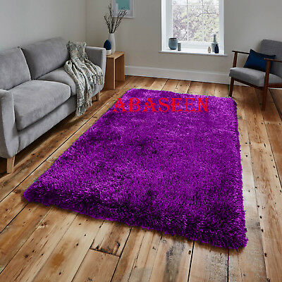 SMALL & LARGE SIZE THICK PLAIN SOFT SHAGGY (PURPLE) NON SHED 7mm PILE MODERN RUG