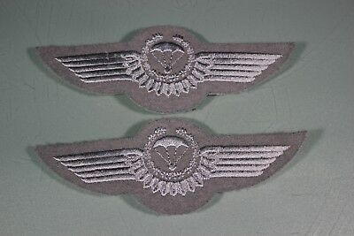 Post WW2 German FJ Fallschirmjager Luftwaffe Air Force Silver Jump Wings. 2 F44