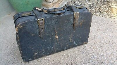 """Antique Brown Pebbled Cowhide Leather Suitcase Luggage Travel w Straps 24"""""""