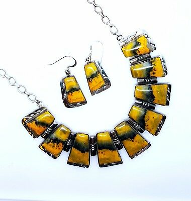 fea6bf273 TOM RONAL Navajo Bumble Bee Jasper Necklace Earring Set Sterling Silver Gift