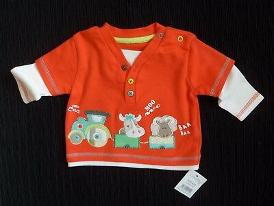 Baby clothes UNISEX BOY GIRL newborn 0-1m NEW! orange+farmyard animals L/S top