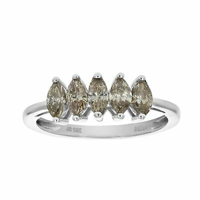1 CT 14K White Gold 5 Stone Champagne Diamond Ring  In Size 9