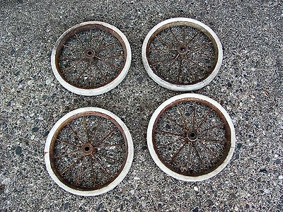 Vintage Antique Carriage/Buggy/Wagon Metal/Iron Rubber Spoke Wheels Lot of 4