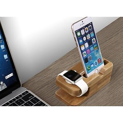 Bamboo Apple Watch Iwatch Docking Station Charger Iphone Charging Stand Dock 5 6