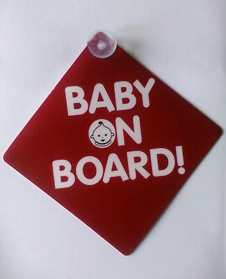 Baby On Board Child Safety Suction Cup Car Vehicle Sign x1