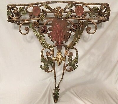 Antique French Wrought Iron Console Table 1920's Vintage Polychrome Regency Old