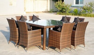 Outdoor Wicker Rattan Dining Setting Square 8 Seater (9pc)