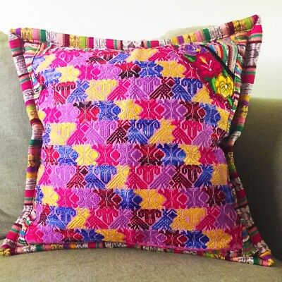 Handwoven pillow cover, Guatemalan, one of a kind, pink and purple pillow cover