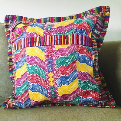 Handwoven pillow cover, Guatemalan, one of a kind, multi color pillow cover