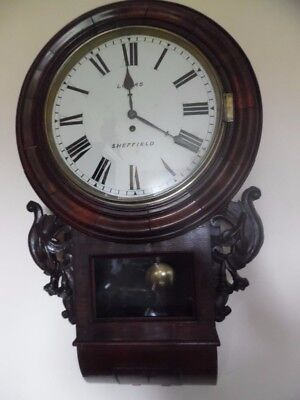 large victorian fusee rosewood wall clock -- lomas sheffield--