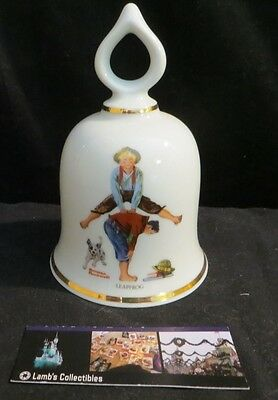Norman Rockwell ceramic bell Leapfrog Danbury Mint 1979 Limited Edition