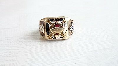 Knights Templar 14k/10k ring Masonic in hoc signo vinces. Gothic. Kinsley Sons