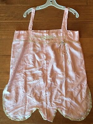 Antique c1920s Peach Pink SILK Teddy Lingerie FRENCH LACE Ribbons